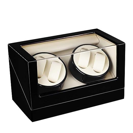 Watch Winder 4+0, Caja giratoria para 4 Relojes automáticos 4 Movimiento, Cargador para Relojes automáticos, en Madera con Acabado Piano (Blanco): ...