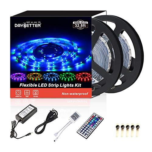 Led Strip Lights 32.8ft 10m 600LEDs Non waterproof Flexible Color Changing RGB SMD 3528 LED Strip Light Kit with 44 Keys IR Remote Controller and 12V Power Supply