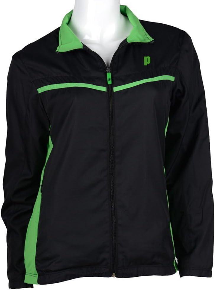 Prince ウォームアップジャケット レディース (ブラック/グリーン)  Large