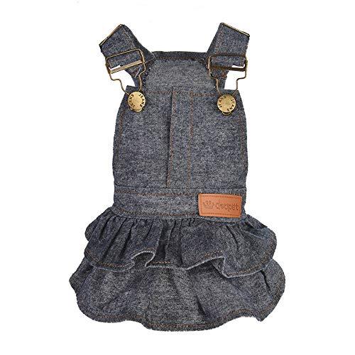 XBKPLO Pet Dress, Dog Pure Color Denim Princess Dresses Puppy Cats Clothes Summer Vest Skirt ()