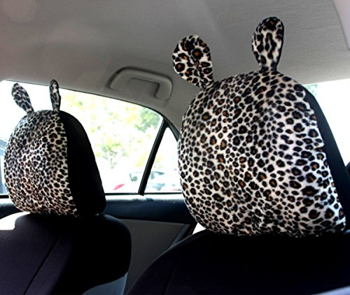 New Fun And Unique Interchangeable Cheetah Print Car Seat Headrest Cover With Ear Universal Fit For Cars Vans Trucks Sold By Pair