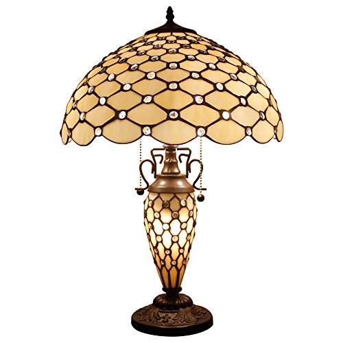 - Tiffany Table Lamp with Crystal Pear Bead Stained Glass Colorful Lampshade 3 Light Pull Chain Antique Night Light Base 24 Inch Tall for Living Room Bedroom Coffee Table Set S005 WERFACTORY