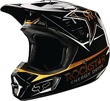 Fox Racing Mens V2 Rockstar – Casco de motocross, color negro/dorado, tamaño