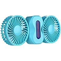 MollBii Mini Portable Rechargeable Electric Double Blades Desk Fan With 2 Modes Speed Adjustable, Enhanced Airflow, Quiet Operation (Blue)