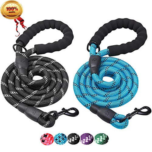 - JBYAMUS 2 Pack 5 FT Reflective Dog Leash, Heavy Duty Dog Leash with Comfortable Padded Handle, Durable Nylon Encryption Braid Anti-Chewing for Medium and Large Dogs (Black-Blue)