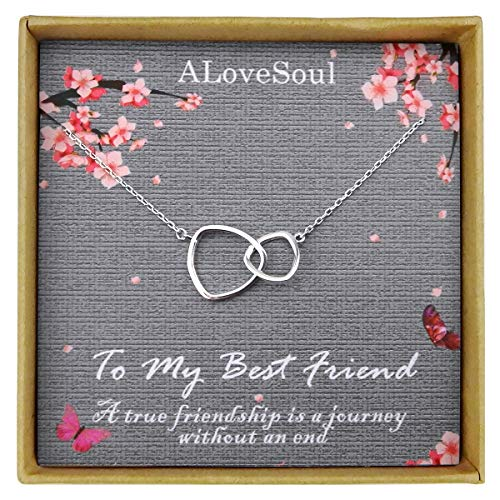 ALoveSoul Best Friend Necklace - Sterling Silver Two Interlocking Infinity Double Triangle Circles Friendship Necklace Friendship Gifts for Women Birthday (Best Alvdis Friend Necklace Locks)