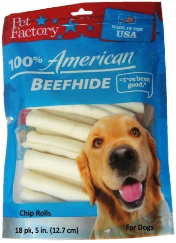 Pet Factory U.S.A. Beef Hide Chip Rolls Chews for Dogs (36 Pack), Small/5''