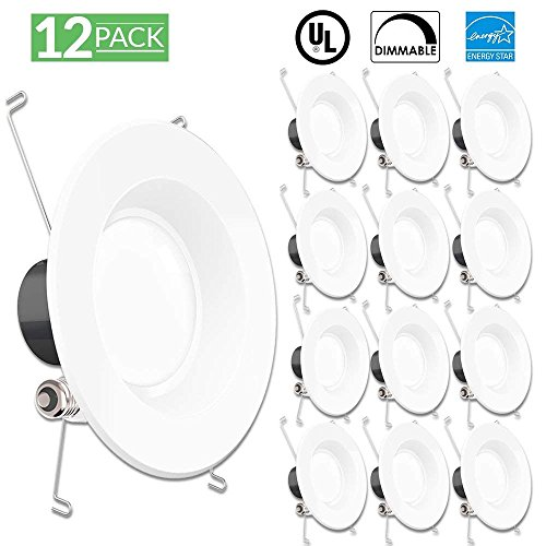 Sunco Lighting 12 Pack 5/6 Inch Smooth Recessed Retrofit Kit Dimmable LED Light, 13W (75W Replacement), 4000K Kelvin Cool White, Quick/Easy Can Install, 830 Lumen, Wet Rated