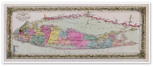"Travelers MAP of LONG ISLAND, NEW YORK by J.H. Colton & Co circa 1857 - measures 12"" high x 30"" wide (305mm high x 762mm wide) - Made In USA"