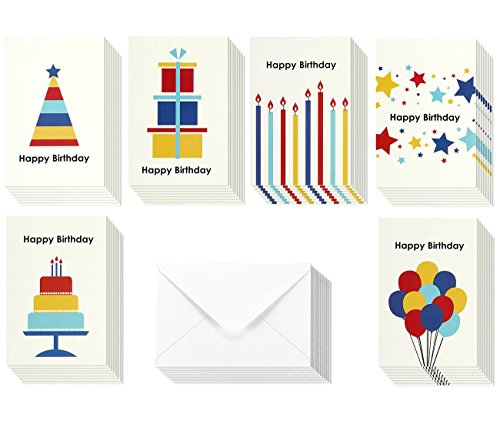 Birthday Card - 48-Pack Birthday Cards Box Set, Wood Happy Birthday Cards – Assorted Party Designs Birthday Card Bulk, Kraft Paper Envelopes Included, 4 x 6 Inches Age Note Cards