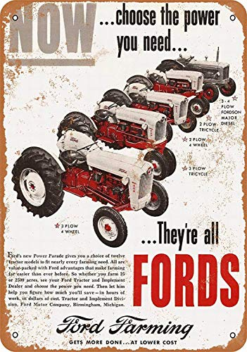 LoMall 8x12 Metal Sign - Ford Farming Tractors - Vintage Retro Wall Decor -