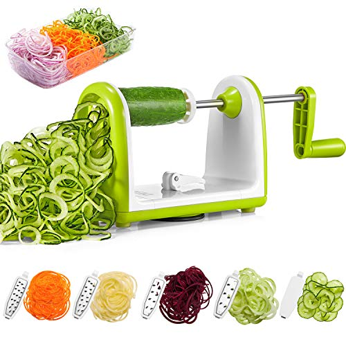 Spiralizer Vegetable Slicer, Deik Spiral Slicer 5 Blade, Strongest Heaviest Duty Veggie Pasta and Spaghetti Maker for Low Healthy Carb/Paleo/Gluten-Free, Super Sucker Upgrade by Deik