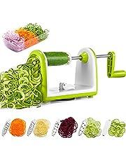 Deik Spiraliseur de Légumes avec 5 Lames Compacte Interchangeables Rapidement, Découpe Légumes pour Transformer Vos Fruits et Légumes en Spirales, Nouilles, Spaghettis, Boîte à Légumes y Compris