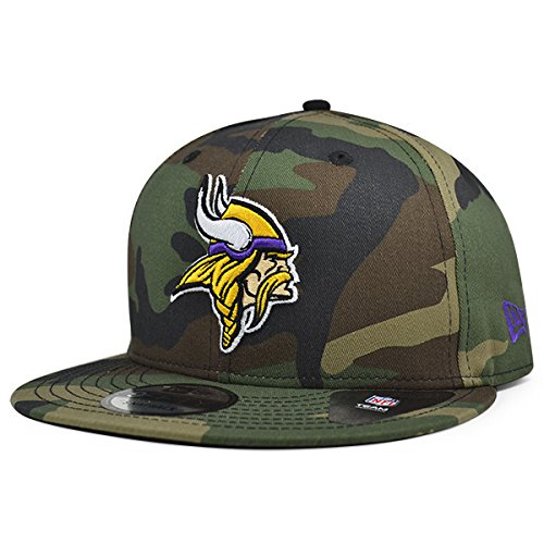 Camo Team Hat - Minnesota Vikings New Era NFL Woodland Camo 9Fifty Snapback Adjustable Hat