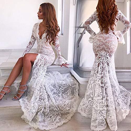 Zarupeng ♥♥♥♥ Ladies Sexy Deep V Lace Perspectiva Split Fishtail Falda Vestido de Fiesta Sirena Vestido de Novia: Amazon.es: Ropa y accesorios