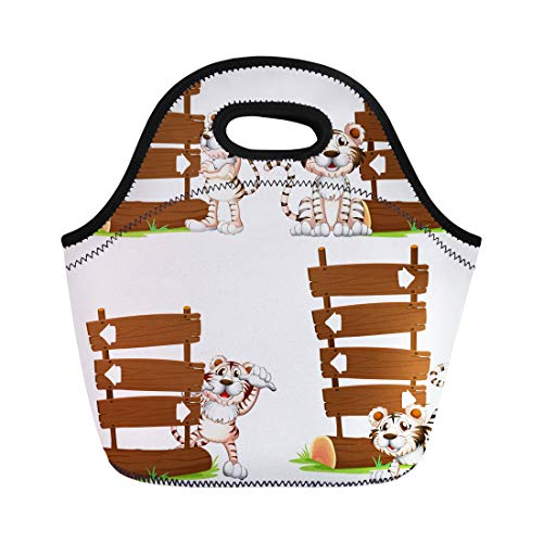 Semtomn Lunch Bags Clip Animal White Tiger ()