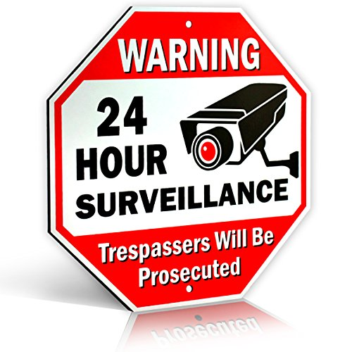 Large Warning 24 Hour Surveillance No Trespassing Metal Sign | with | for Home Business Video Security CCTV Camera | 12