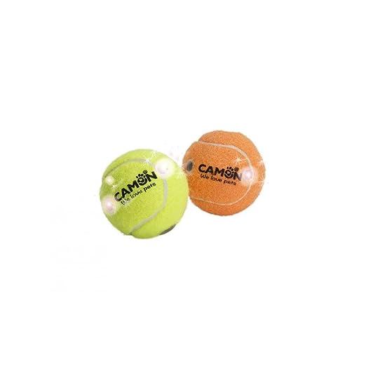 Pelota de tenis para animales con luces y sonajero Camon: Amazon ...