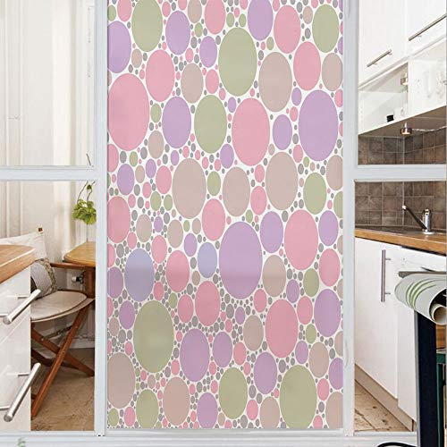 Decorative Window Film,No Glue Frosted Privacy Film,Stained Glass Door Film,Soft Large Small Geometric Circle Oval Polka Dots Retro Style Feminine Decorative,for Home & Office,23.6In. by 47.2In Rose P