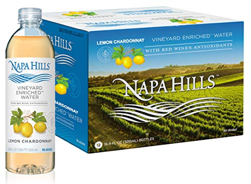 Napa Hills | Flavored Water | Lemon Flavor | 12 Pack | Vineyard Enriched | With Red Wine Antioxidants | Natural Resveratrol Infused Drink | No Wine taste, No Alcohol, No Sugar, No Calories