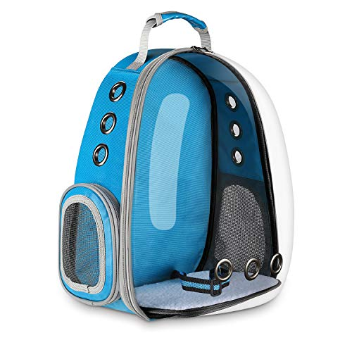 Blitzwolf Pet Transparent Carrier Backpack, Anzone Sightseeing Pet Traveller Outdoor Knapsack Waterproof Lightweight Handbag Airline-Approved for Cats Dogs and Birds Small Animals-Blue