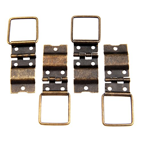 Dophee 4Pcs 38x21mm Antique Jewelry Box Door Spring Hinges Gift Wood Chest Hardware Hinge ()