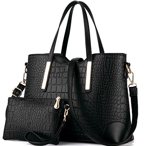 Womens 3 Piece Tote Bag Leather Handbag Purse Bags Set (Black) - 7
