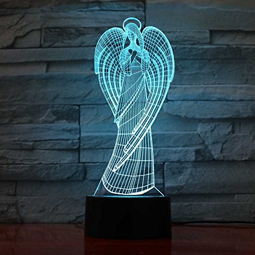 3D Night Light Child Baby Lamp Home Office Atmosphere Decor Led Colorful Wings Girl Shape Angel Table Lamp Virgin Mary USB Light Fixture Remote Control IWMAMO
