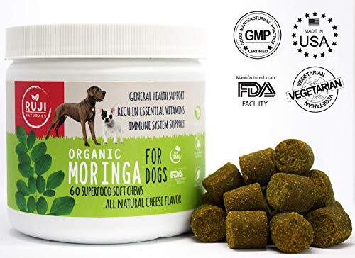 All Natural Multivitamin, Minerals, Amino Acids, Dog Supplement soft treats made with Superfood Moringa - Immune System Boosts - Anti aging - Skin & Coat - Digestive Support - Hip & Joint -Made in USA