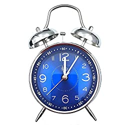 Nikauto Retro Alarm Clock, Vintage Room Clock Home Desk Table Lamp Clock with Ultra Mute Non Ticking Sweep Second Hand HD Glass Lens Battery Operated (Silver-Blue)