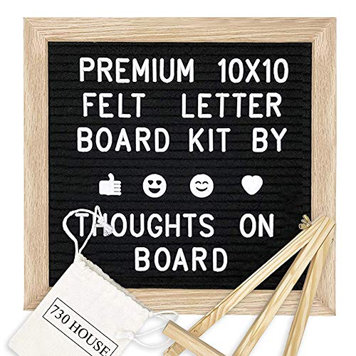 Felt Letter Board 10 x 10 inches + 360 White Characters + Stand +1 Storage Pouches, Changeable Letter Sign, Message Board, Word Board - Black
