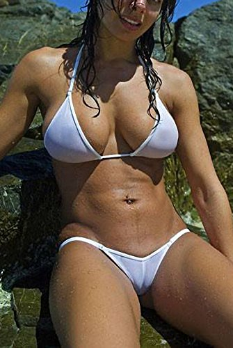 Womens See Through Micro Bikini Set Women's Brazilian Sheer Bikinis Sex Swim Lingerie Swimwear Female Beachwear Swimsuit Costume White S
