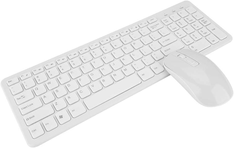 Conjuntos de Teclado y Mouse, Teclado y Mouse Inalámbricos de Alta Sensibilidad sin Demora, 108 Teclas Combo de Mouse Inalámbrico Multifuncional de Teclado 2.4G(Blanco)