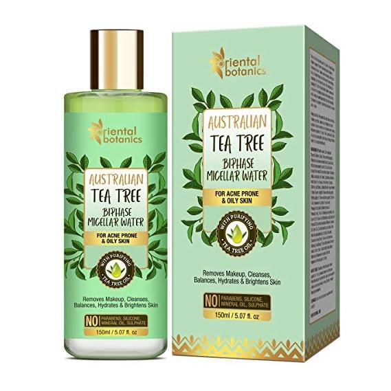 Oriental Botanics Australian Tea Tree Bi-Phase Micellar Water 150ml, Removes Makeup & Cleanses   No SLS, Alcohol