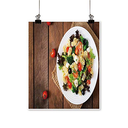 - Hanging Painting Pasta sala Tomato Broccoli Black Olives Cheese feta top View Rich in Color,32