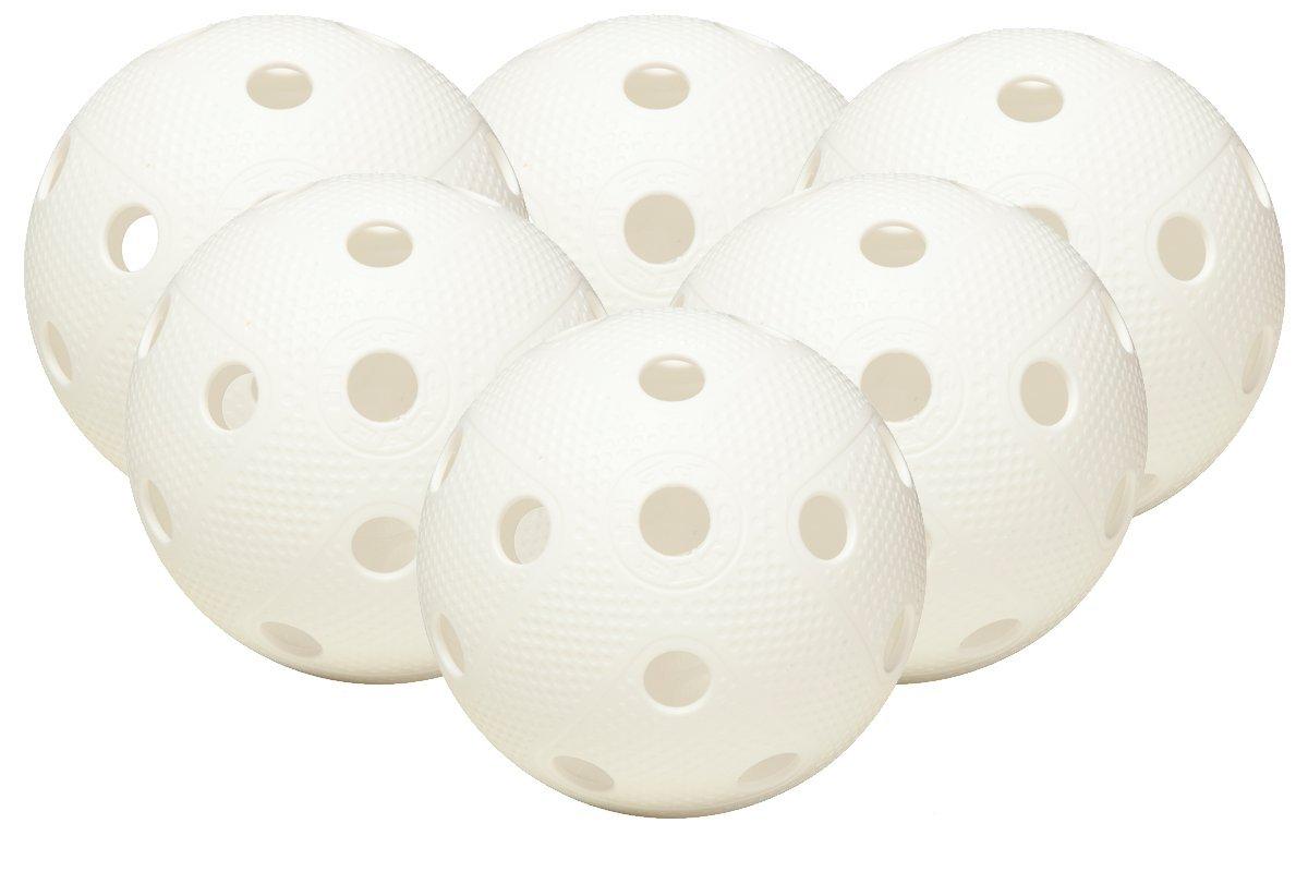 FAT PIPE Floorball / Unihockey Set di 6 palle - BIANCO, Matchball ufficiale Power Stick Oy 711944-6