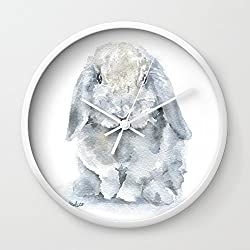 Society6 Mini Lop Gray Rabbit Watercolor Painting Wall Clock White Frame, White Hands