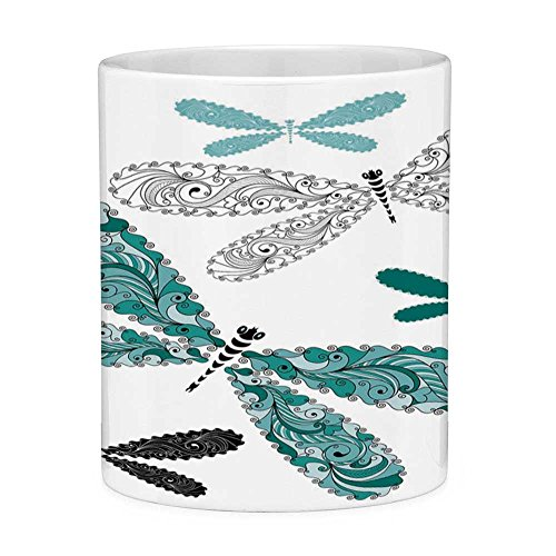 (Lead Free Ceramic Coffee Mug Tea Cup White Dragonfly 11 Ounces Funny Coffee Mug Ornamental Dragonfly Figures with Lace and Damask Effects Artsy Image Decorative Teal Turquoise Black)