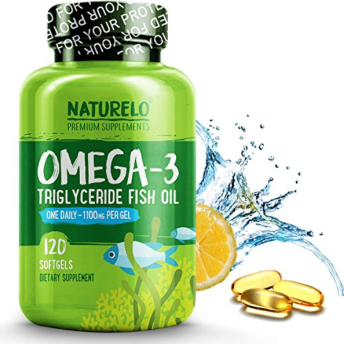 NATURELO Omega-3 Fish Oil Supplement - EPA DHA - 1100 mg Triglyceride Omega-3 per Gel - One A Day - Best for Heart, Eye, Brain, Joint Health - No Burps - Month Men 3