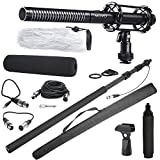 Movo Supercardioid Shotgun Condensor Video Microphone Bundle with 8-foot Telescoping Carbon Fiber Boom Pole & Integrated XLR Cable for Film Production and ENG