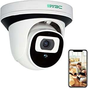 5MP POE Security Camera, SV3C IP Camera Indoor Outdoor, Home Surveillance Dome Cameras with Two-Way Audio, Human Motion Detection, Night Vision, Remote View, CamHi App Control, Support SD Card