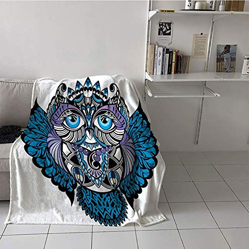 Khaki home Children's Blanket Digital Printing Digital Printing Blanket (60 by 70 Inch,Tribal,Owl Bird Animal with Paisley Tattoo Design with Big Blue Eyes Lashes Print,Navy Blue and Purple]()