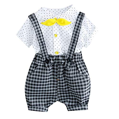 FEITONG Baby Outfit, Toddler Kids Baby Girl Boys Dot Bow Tops Plaid Overall Shorts Pants Outfits Set White