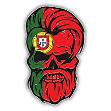 Grunge Beard Skull Portugal Flag Sticker Decal Design 3'' X 5''