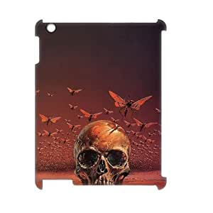 J-LV-F Artsy Skull Pattern 3D Case for iPad 2,3,4
