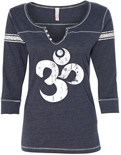 Ladies DISTRESSED OM 3/4-Sleeve Henley, XL Deep Blue
