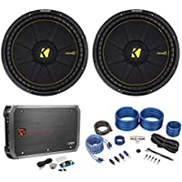 (2) Kicker 44CWCD154 CompC 15 2400w Car Subwoofers Subs+Mono Amplifier+Amp Kit
