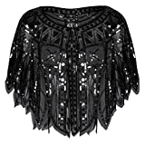 PrettyGuide Women's Flapper Shawl Sequin Geometry Evening Wraps Wedding Shawl Black
