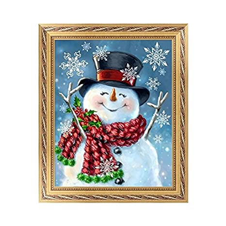 Painting Kit DIY Diamond 5D Full Drill Crystal Rhinestone Embroidery for Home Wall Decor Wall Sticker 25X30CM Christmas Snowman 1Pcs