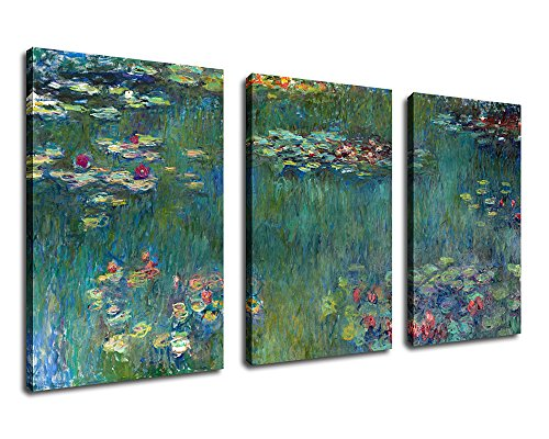 "Canvas Wall Art Water Lilies by Claude Monet Painting Prints - 20"" x 30"" x 3 Pieces Extra Large Contemporary Pictures Modern Canvas Artwork for Home Office Wall Decor Living Room Bedroom Decorations"